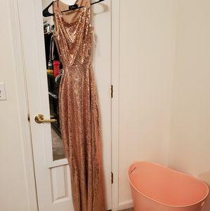 Rose gold sequin long dress